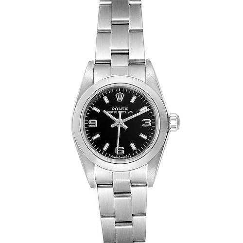 Photo of Rolex Oyster Perpetual Steel Black Dial Ladies Watch 67180 Box Papers