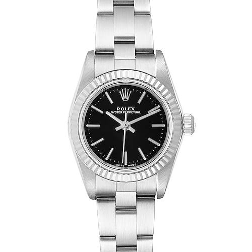 Photo of Rolex Oyster Perpetual Steel White Gold Black Dial Ladies Watch 76094