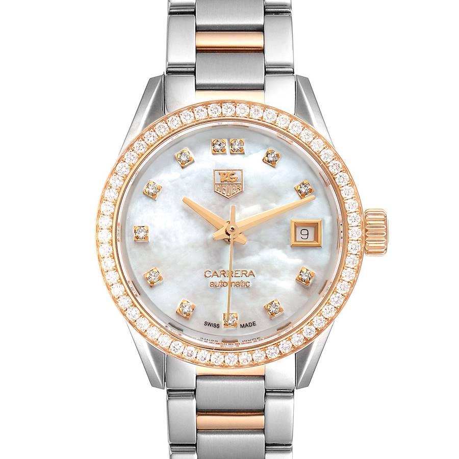 TAG Heuer Carrera MOP Diamond Steel Rose Gold Ladies Watch WAR2453 Box Card SwissWatchExpo