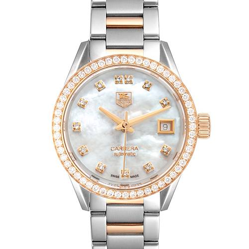 Photo of TAG Heuer Carrera MOP Diamond Steel Rose Gold Ladies Watch WAR2453 Box Card