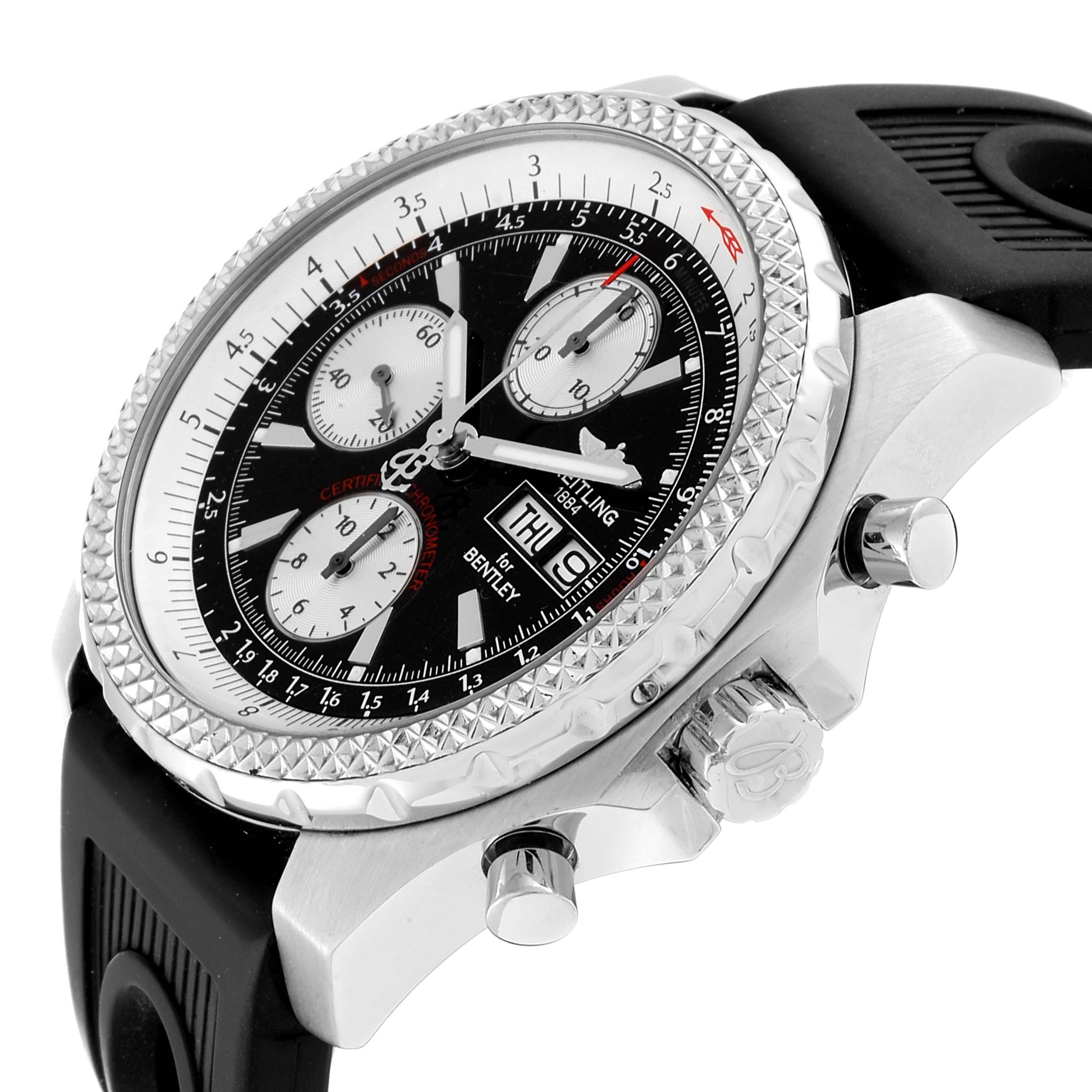 Breitling Bentley GT Black Dial Rubber Strap Steel Mens Watch A13363 SwissWatchExpo
