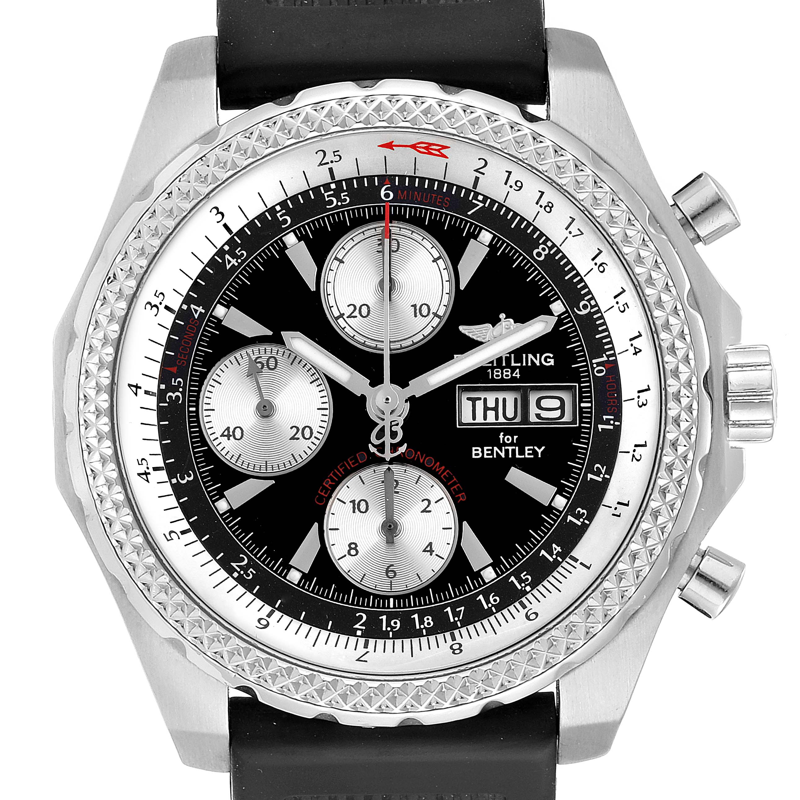 Photo of Breitling Bentley GT Black Dial Rubber Strap Steel Mens Watch A13363