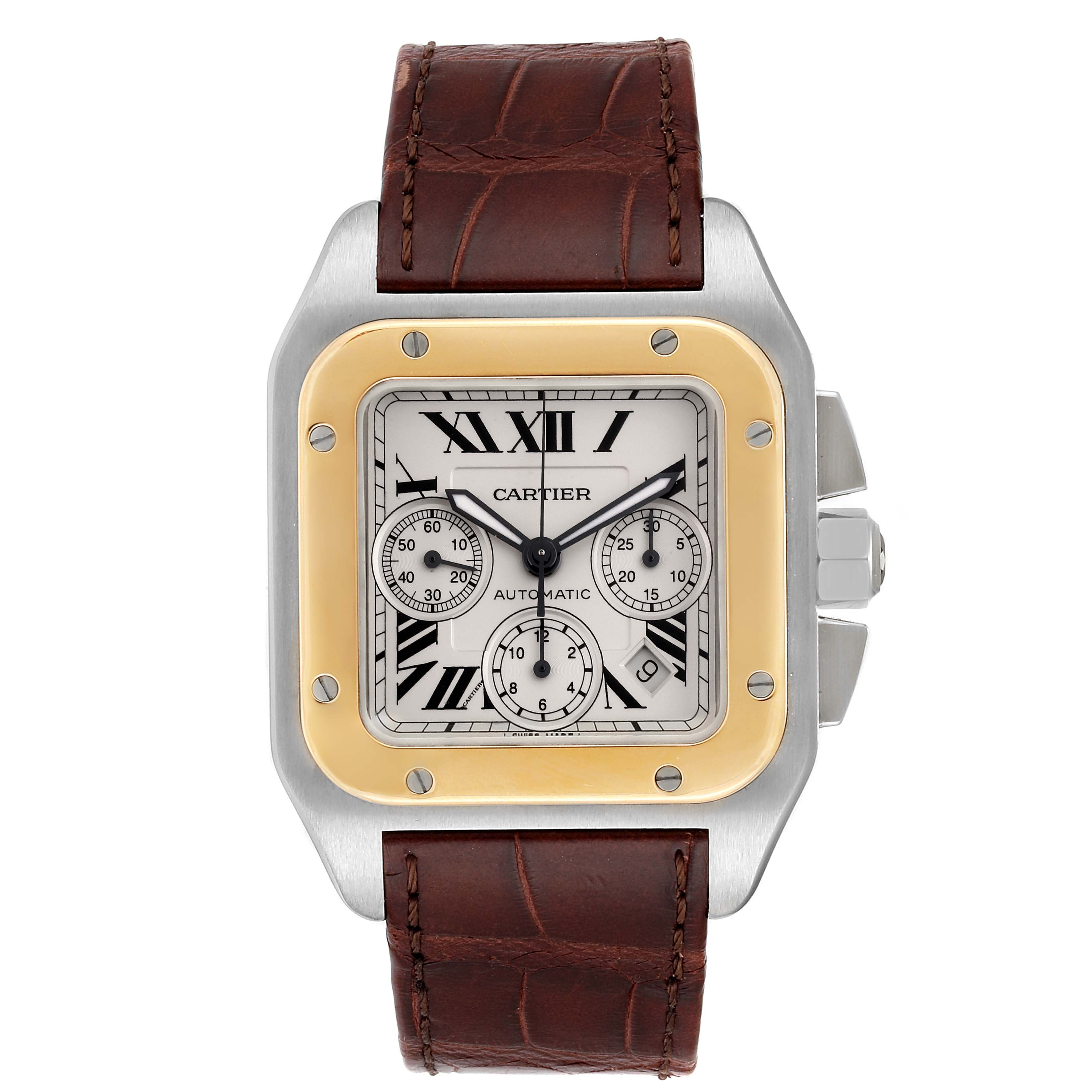 Cartier Santos 100 Steel Yellow Gold Chronograph Mens Watch W20091X7 SwissWatchExpo