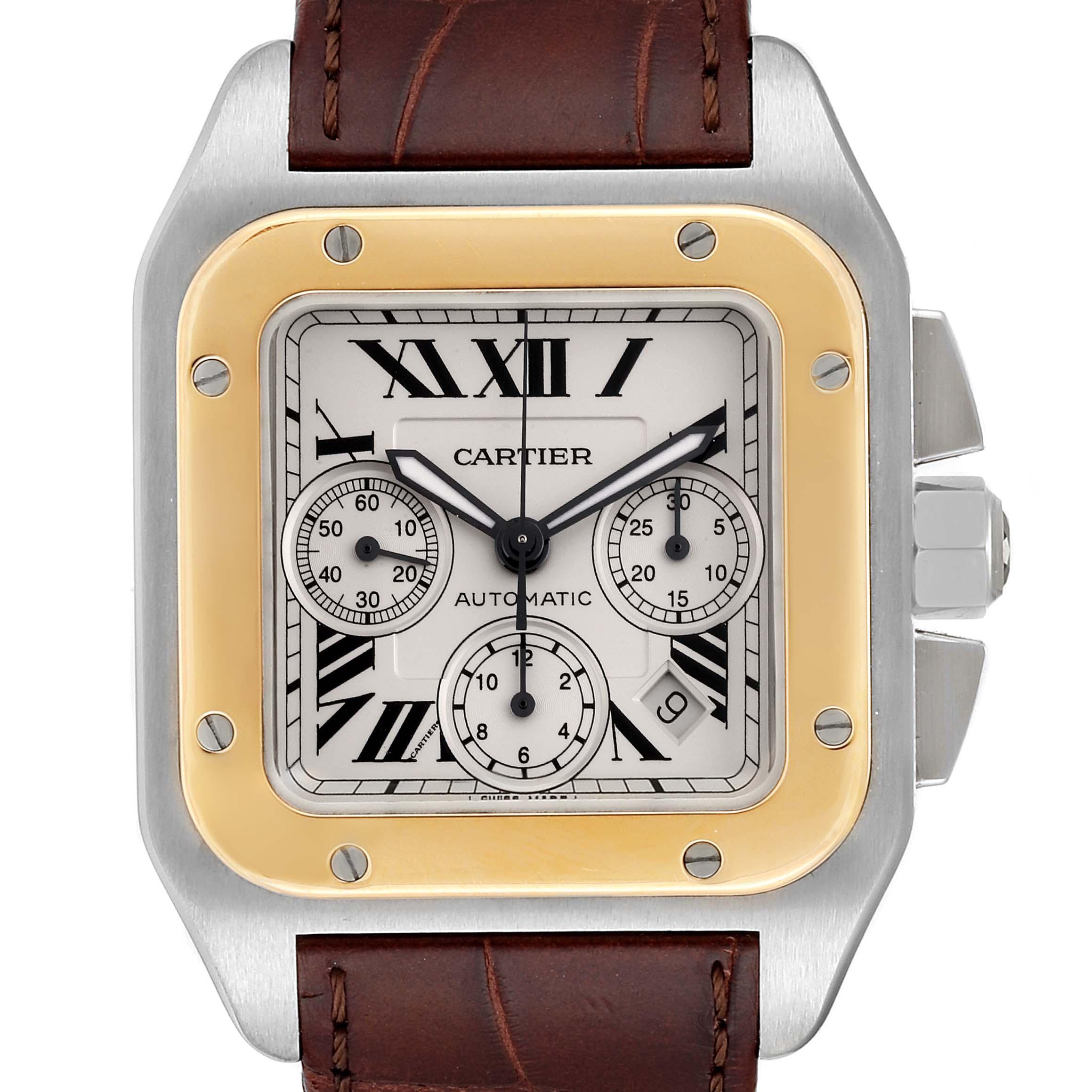 Cartier Santos 100 Steel Yellow Gold Chronograph Mens Watch W20091X7