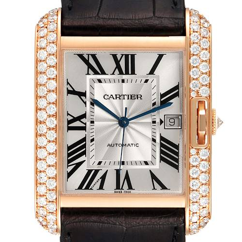 Photo of Cartier Tank Anglaise XL Rose Gold Diamond Mens Watch WT100021 Box Papers