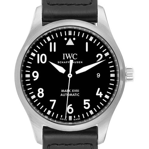 Photo of IWC Pilot Mark XVIII Black Dial Steel Mens Watch IW327001