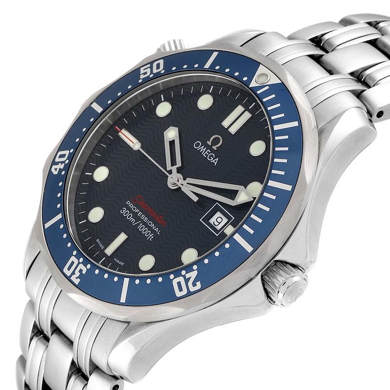 Omega Seamaster Bond 300M Blue Wave Dial Mens Watch 2221.80.00 Box Card SwissWatchExpo