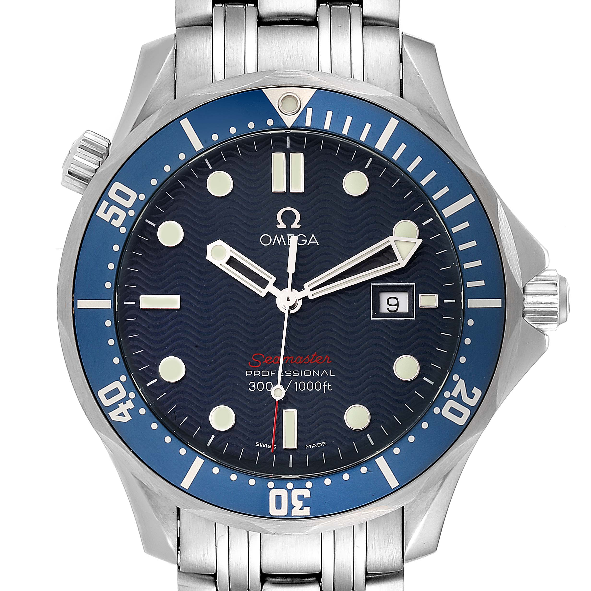 Omega Seamaster Bond 300M Blue Wave Dial Mens Watch 2221.80.00 Box Card
