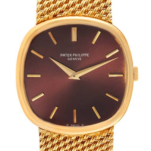 Photo of Patek Philippe Ellipse 18k Yellow Gold Reddish Brown Dial Watch 3844 Papers