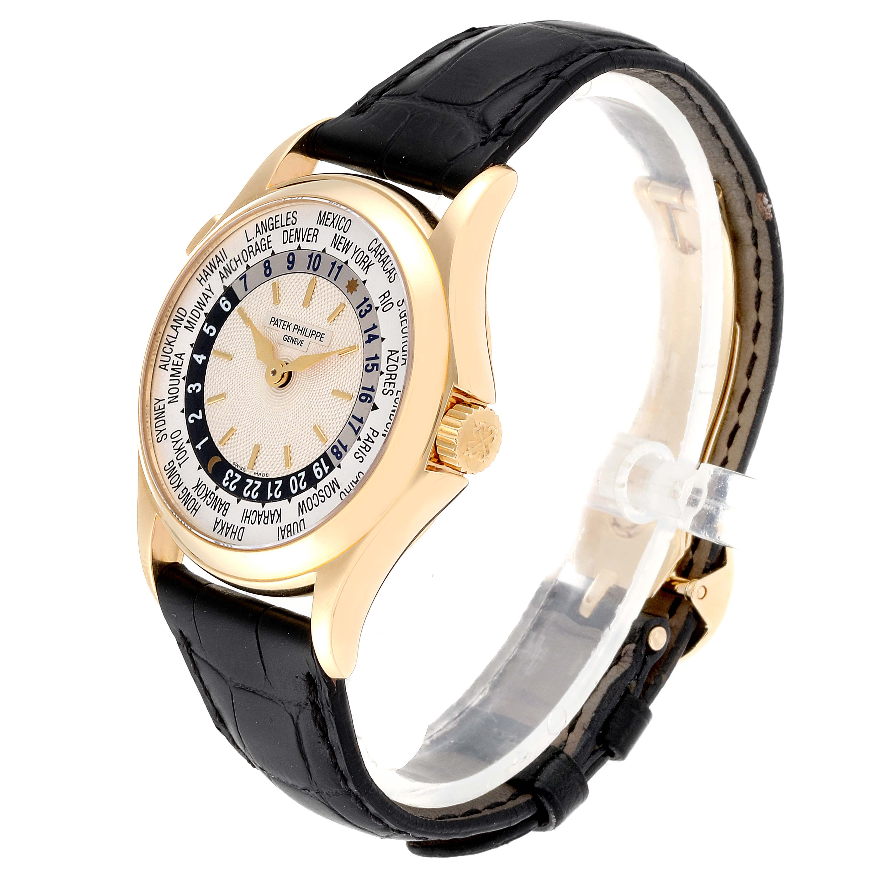 Patek Philippe World Time Complications Yellow Gold Watch 5110 Box Papers SwissWatchExpo