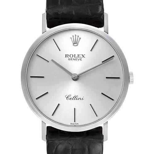 Photo of Rolex Cellini Classic 18k White Gold Silver Dial Mens Watch 4112 Papers