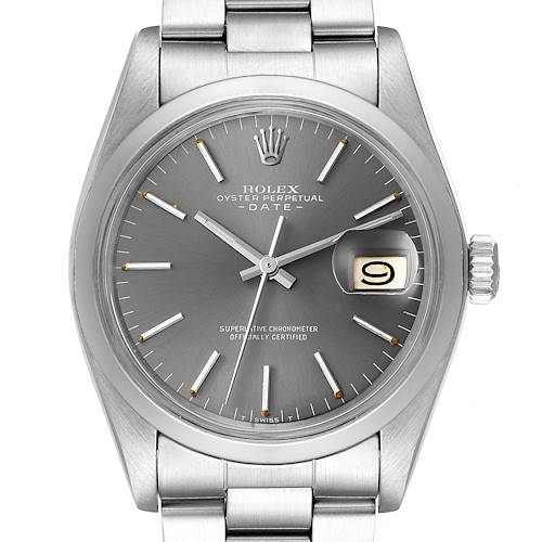 Photo of Rolex Date Rhodium Dial Domed Bezel Vintage Mens Watch 1500