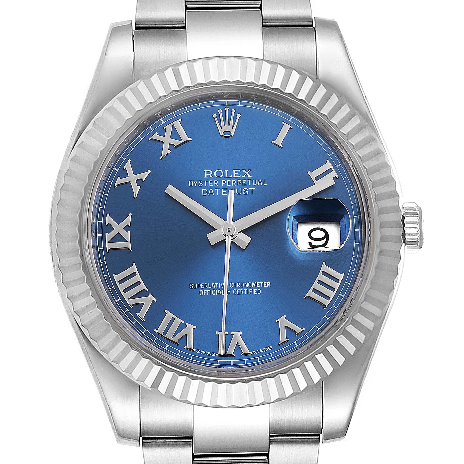 Rolex Datejust II Blue Roman Dial Fluted Bezel Watch 116334 Box Card