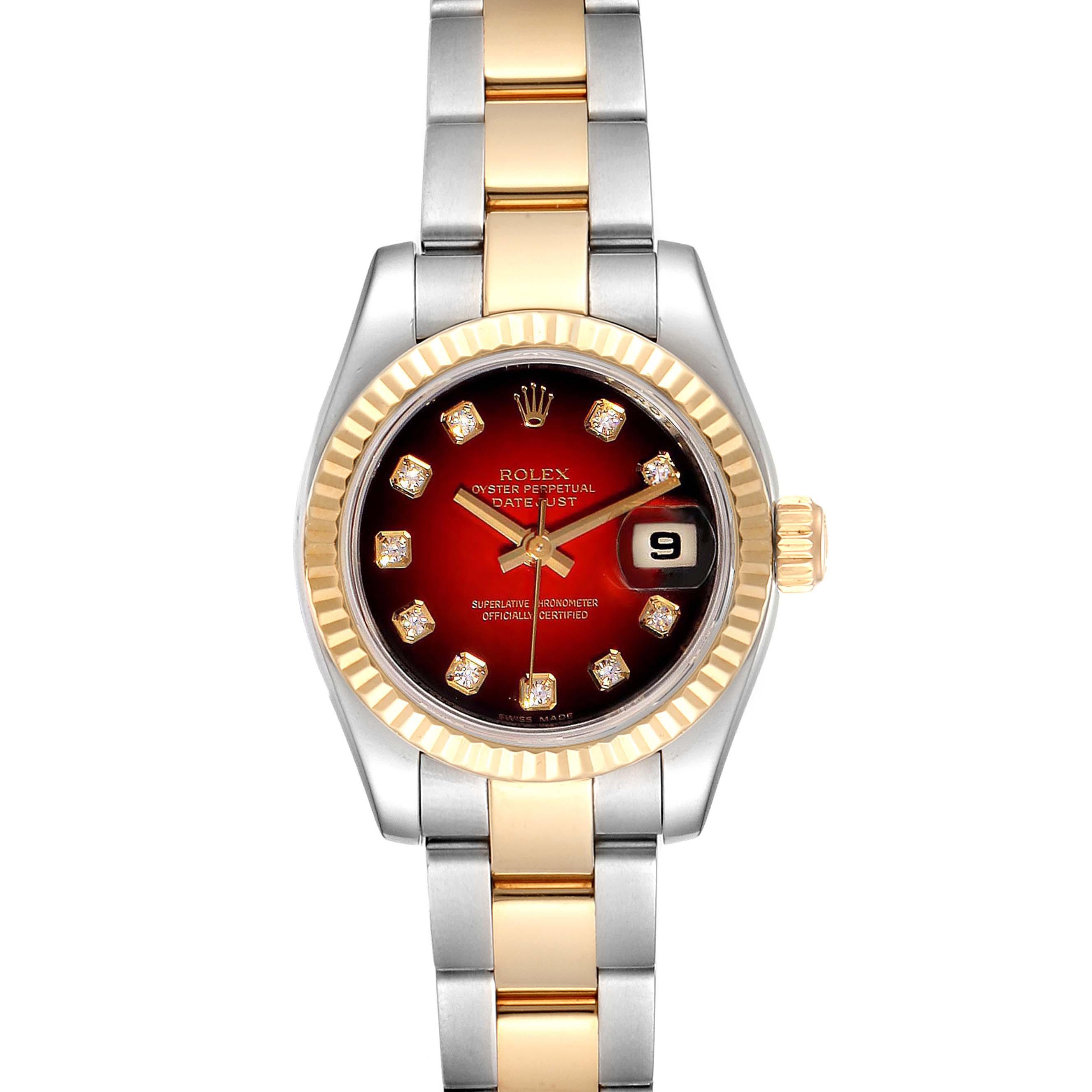 Rolex Datejust Steel Yellow Gold Red Vignette Diamond Ladies Watch 179173
