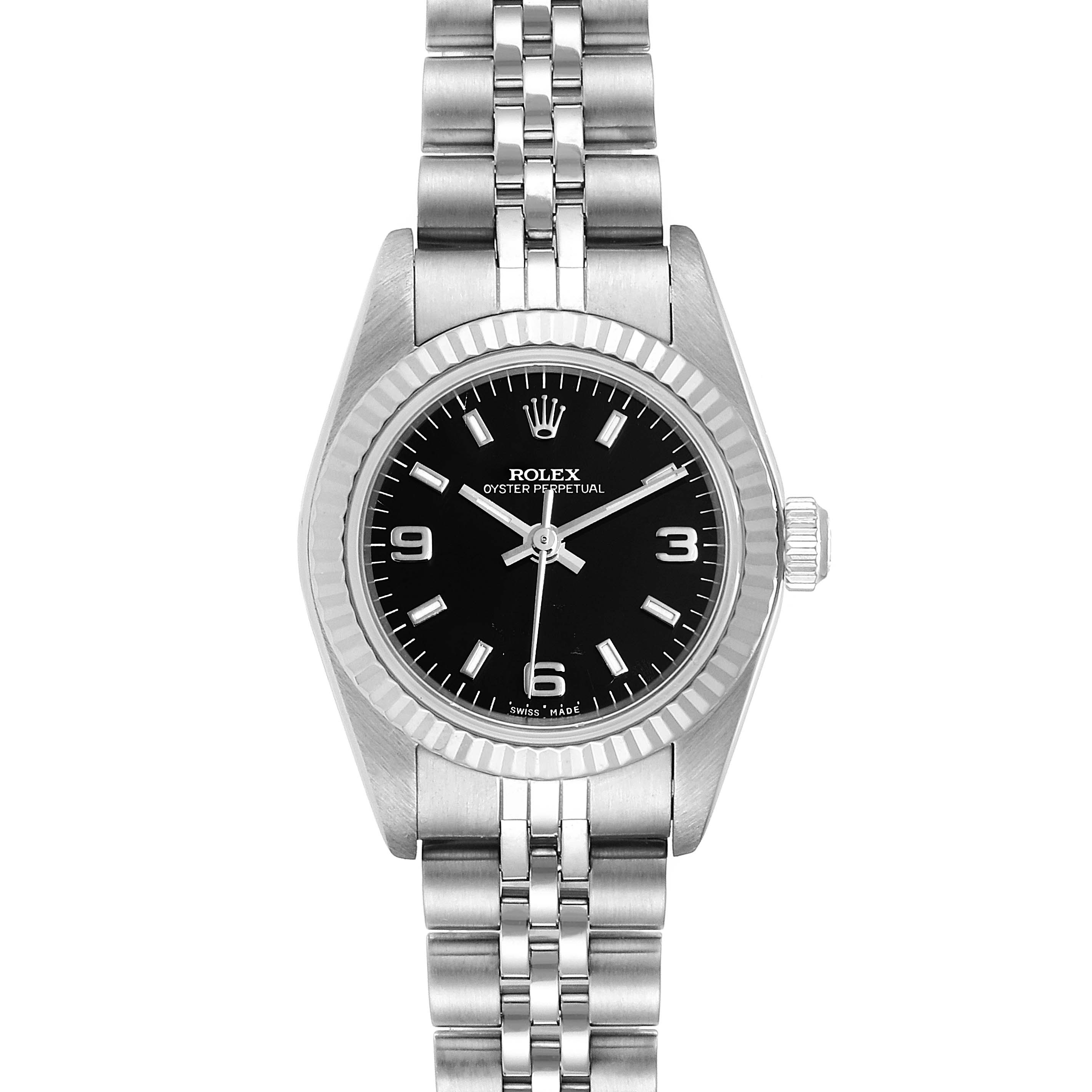 Rolex Oyster Perpetual Steel White Gold Ladies Watch 76094 Box Papers
