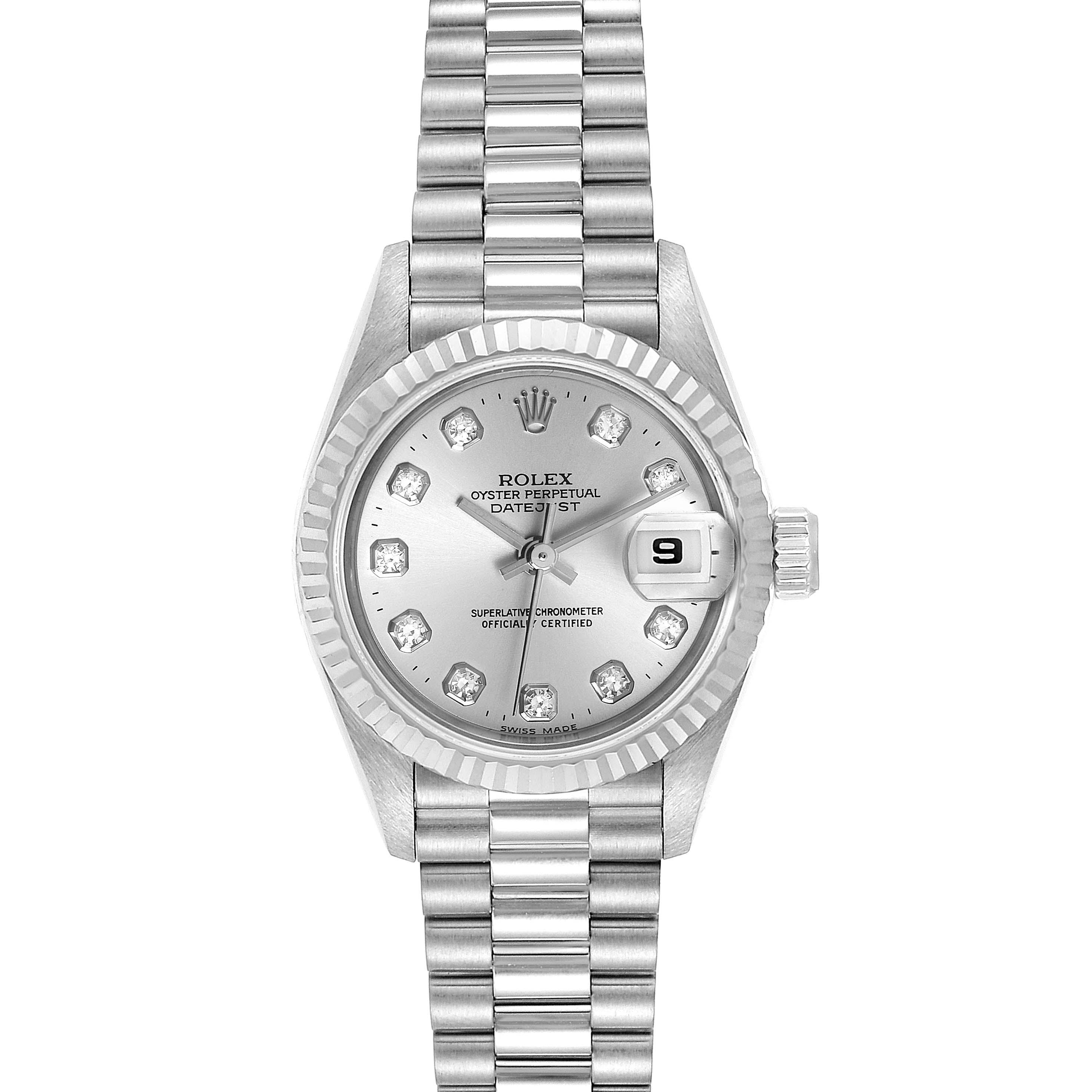 Rolex President Datejust 26 White Gold Diamond Ladies Watch 69179