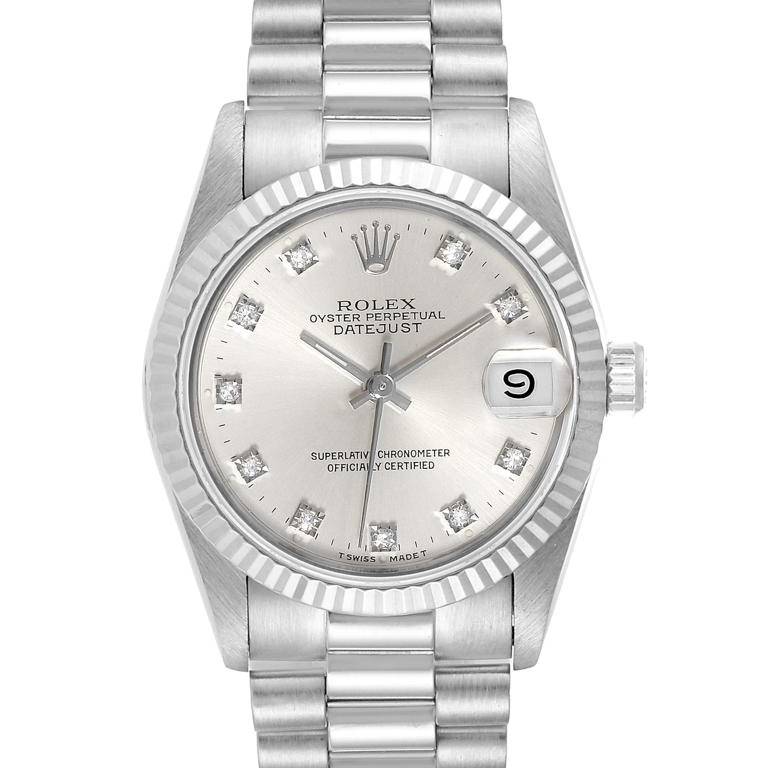 Rolex President Datejust Midsize White Gold Diamond Ladies Watch 68279