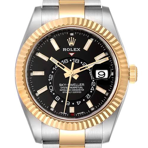 Photo of Rolex Sky Dweller Yellow Gold Steel Black Dial Mens Watch 326933 Unworn