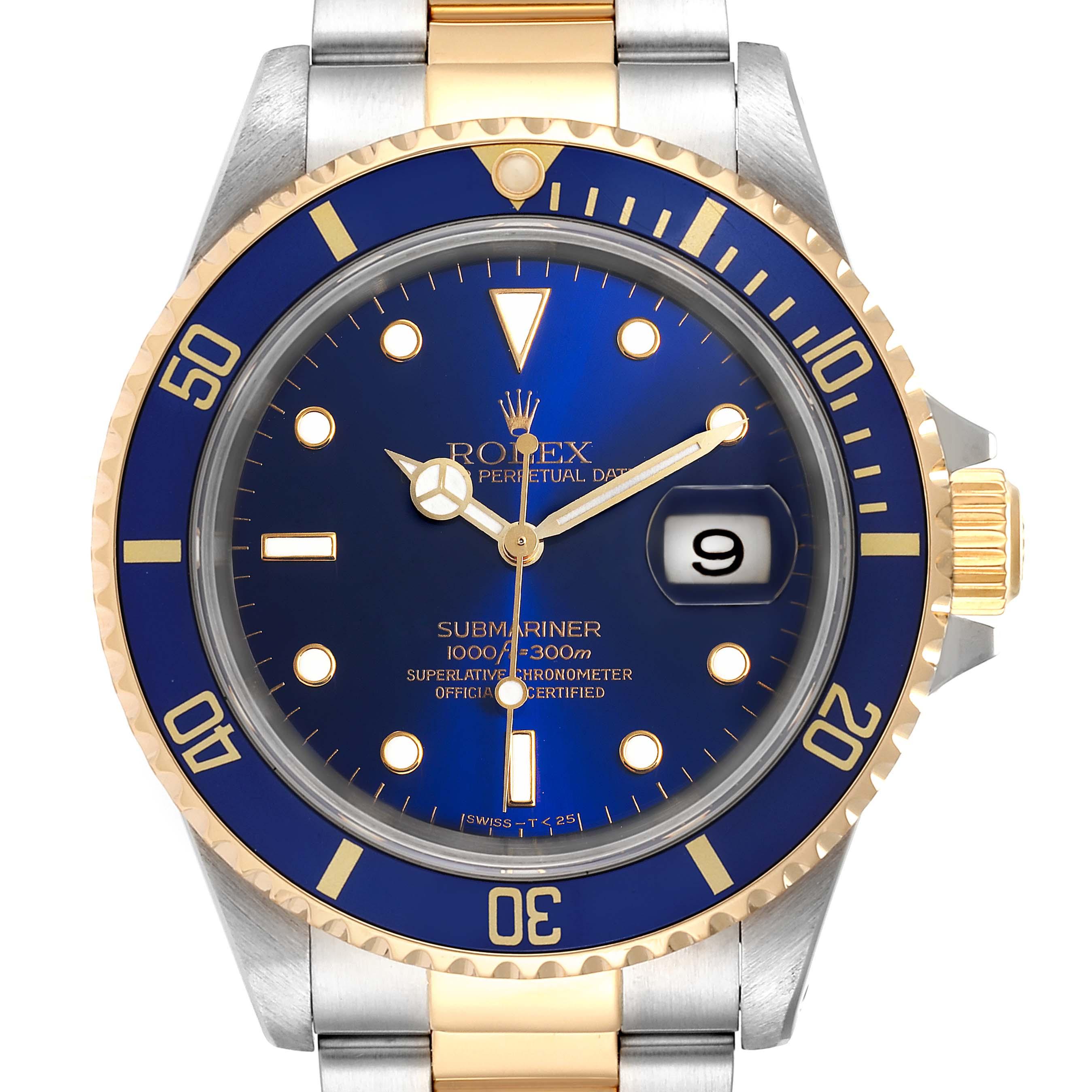 Rolex Submariner Blue Dial Bezel Steel Yellow Gold Mens Watch 16613