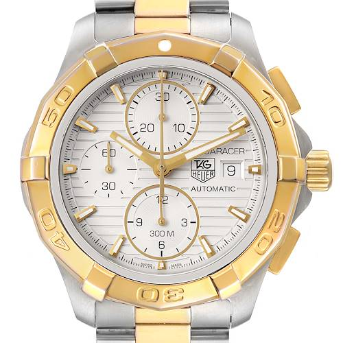 Photo of Tag Heuer Aquaracer Chronograph Steel Yellow Gold Watch CAP2120 Box Card