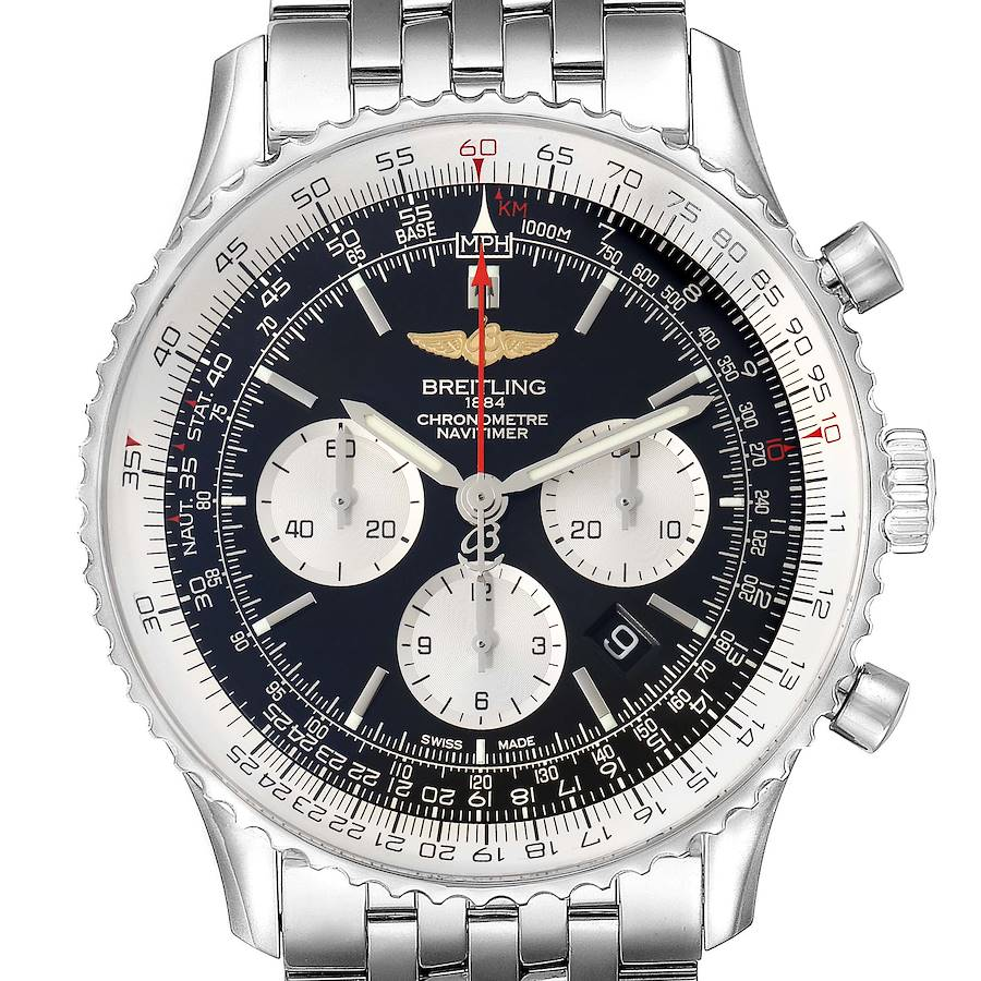 Breitling Navitimer 01 46mm Black Dial Steel Mens Watch AB0127 Box Card SwissWatchExpo