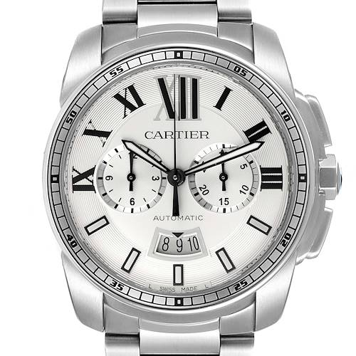 Photo of Cartier Calibre Silver Dial Chronograph Mens Watch W7100045 Box Papers