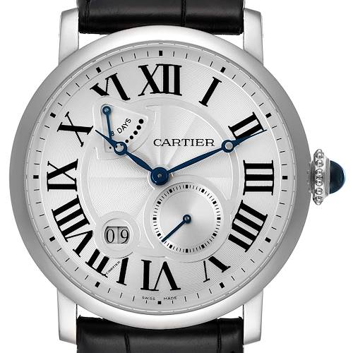 Photo of Cartier Rotonde Silver Dial White Gold Mens Watch W1556202 Box Papers