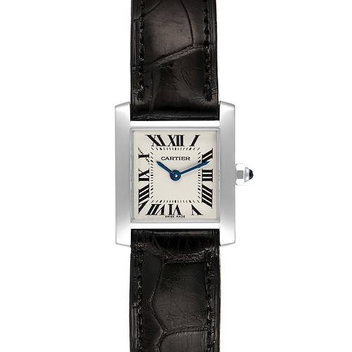 Photo of Cartier Tank Francaise White Gold Black Strap Ladies Watch W5001256