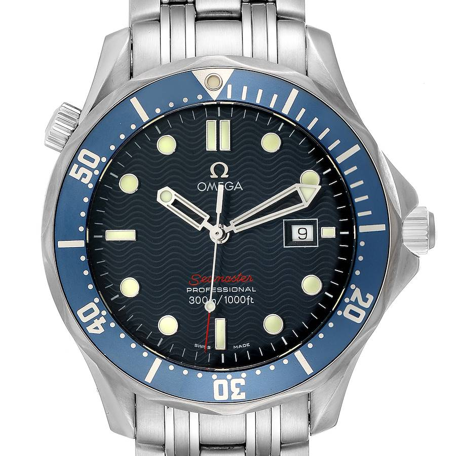 Omega Seamaster Bond 300M Blue Wave Dial Mens Watch 2221.80.00 SwissWatchExpo