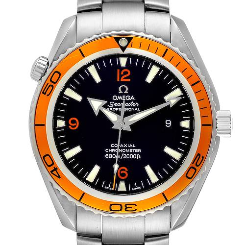 Photo of Omega Seamaster Planet Ocean XL Orange Bezel Watch 2208.50.00 Box Card