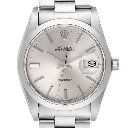 Photo of Rolex OysterDate Precision Silver Dial Steel Vintage Watch 6694 Service Card