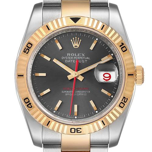 Photo of Rolex Turnograph Datejust Steel Yellow Gold Gray Dial Watch 116263 Box Card