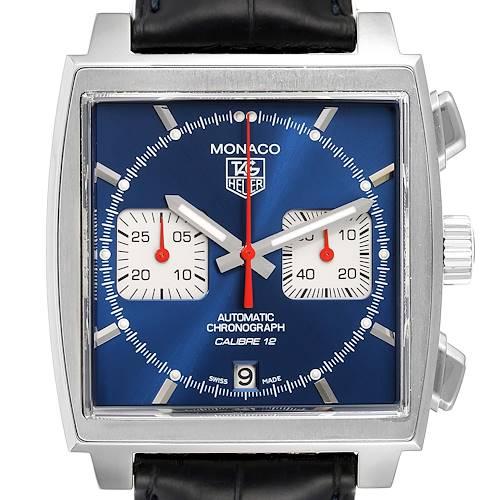 Photo of Tag Heuer Monaco Calibre 12 Blue Dial Black Strap Mens Watch CAW2111