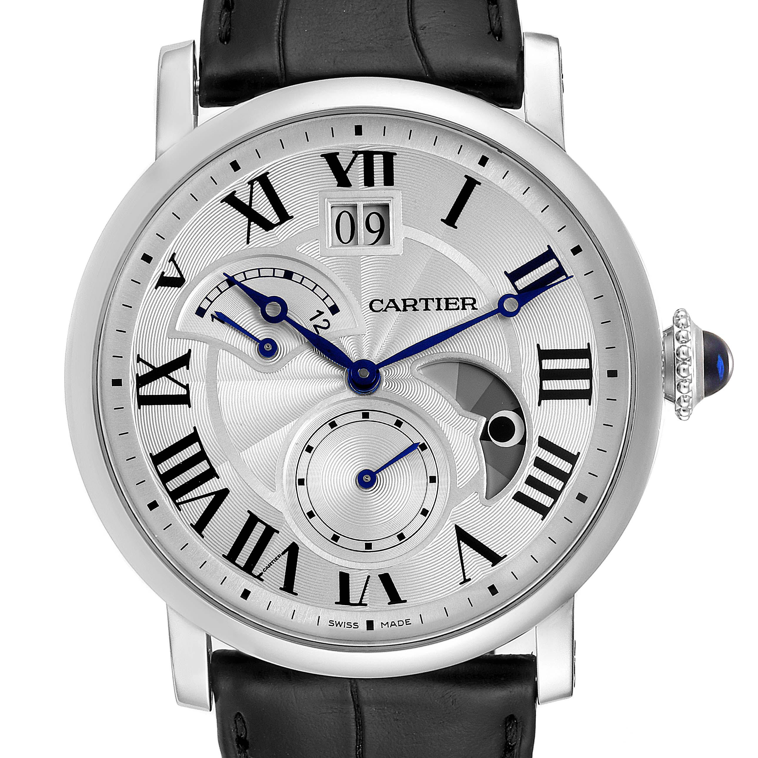 Cartier Rotonde Retrograde GMT Time Zone Steel Mens Watch W1556368