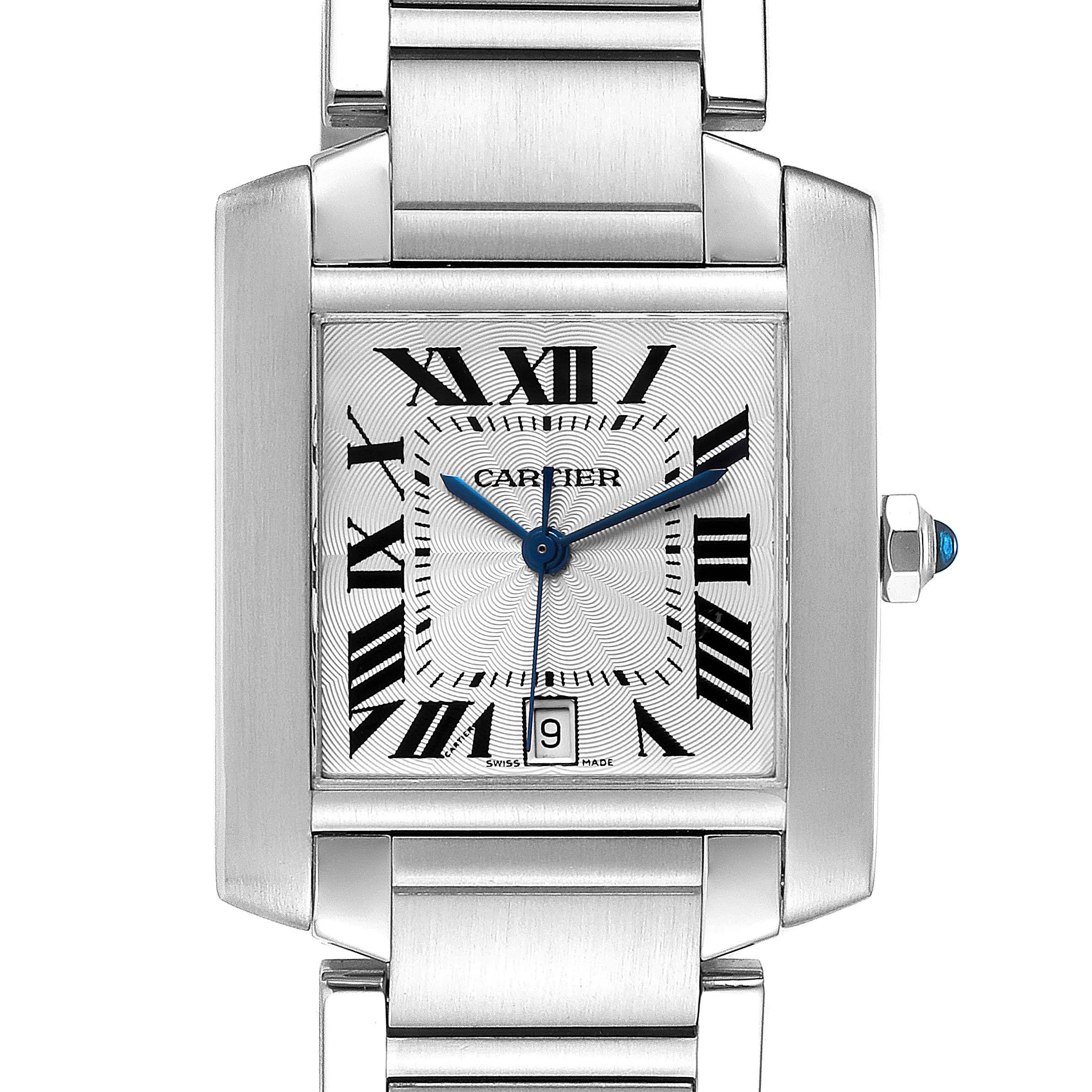 Cartier Tank Francaise Silver Dial Automatic Steel Mens Watch W51002Q3