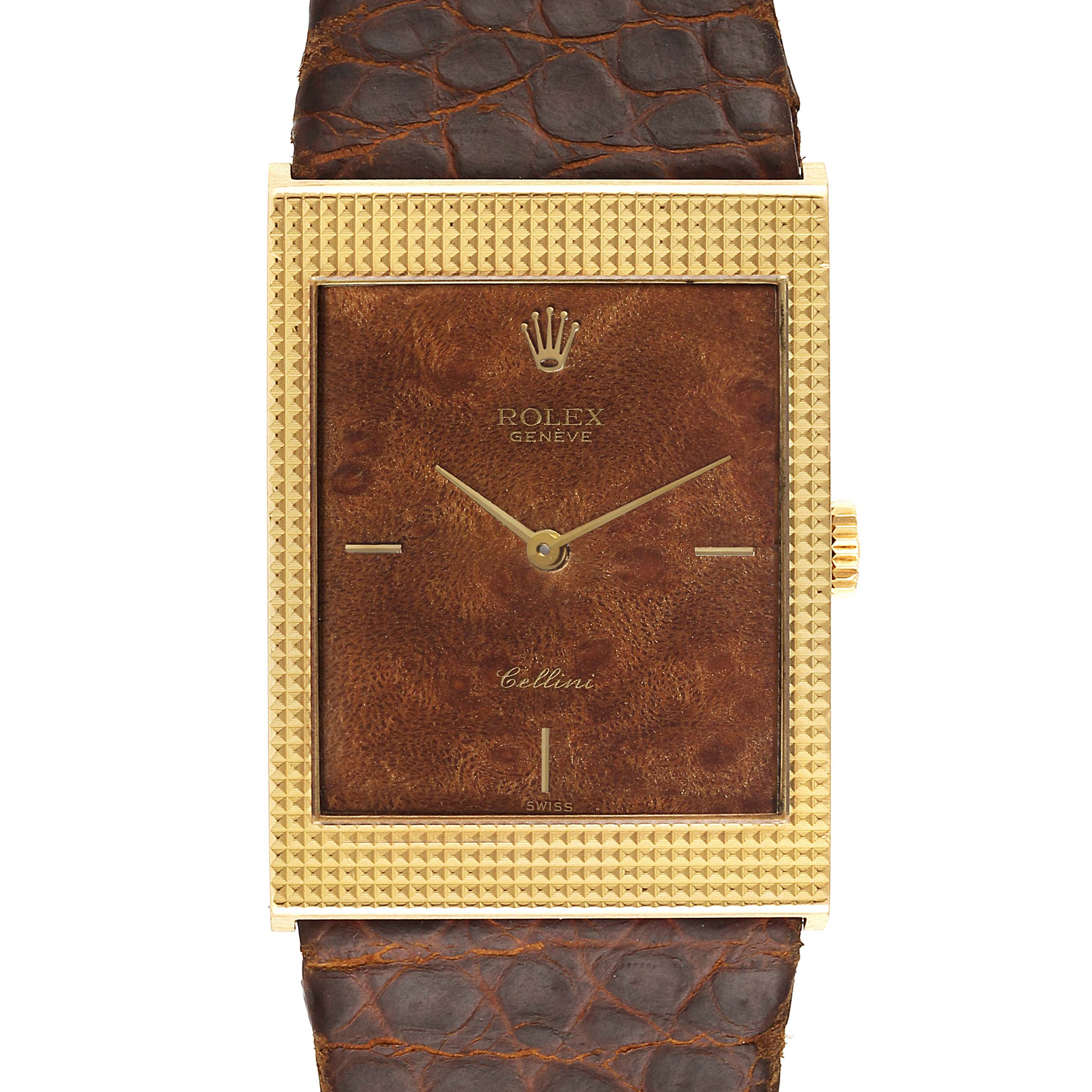 Photo of Rolex Cellini 18k Yellow Gold Wooden Dial Vintage Mens Watch 4127