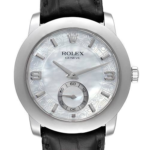 Photo of Rolex Cellini Cellinium Platinum Mother of Pearl Mens Watch 5240