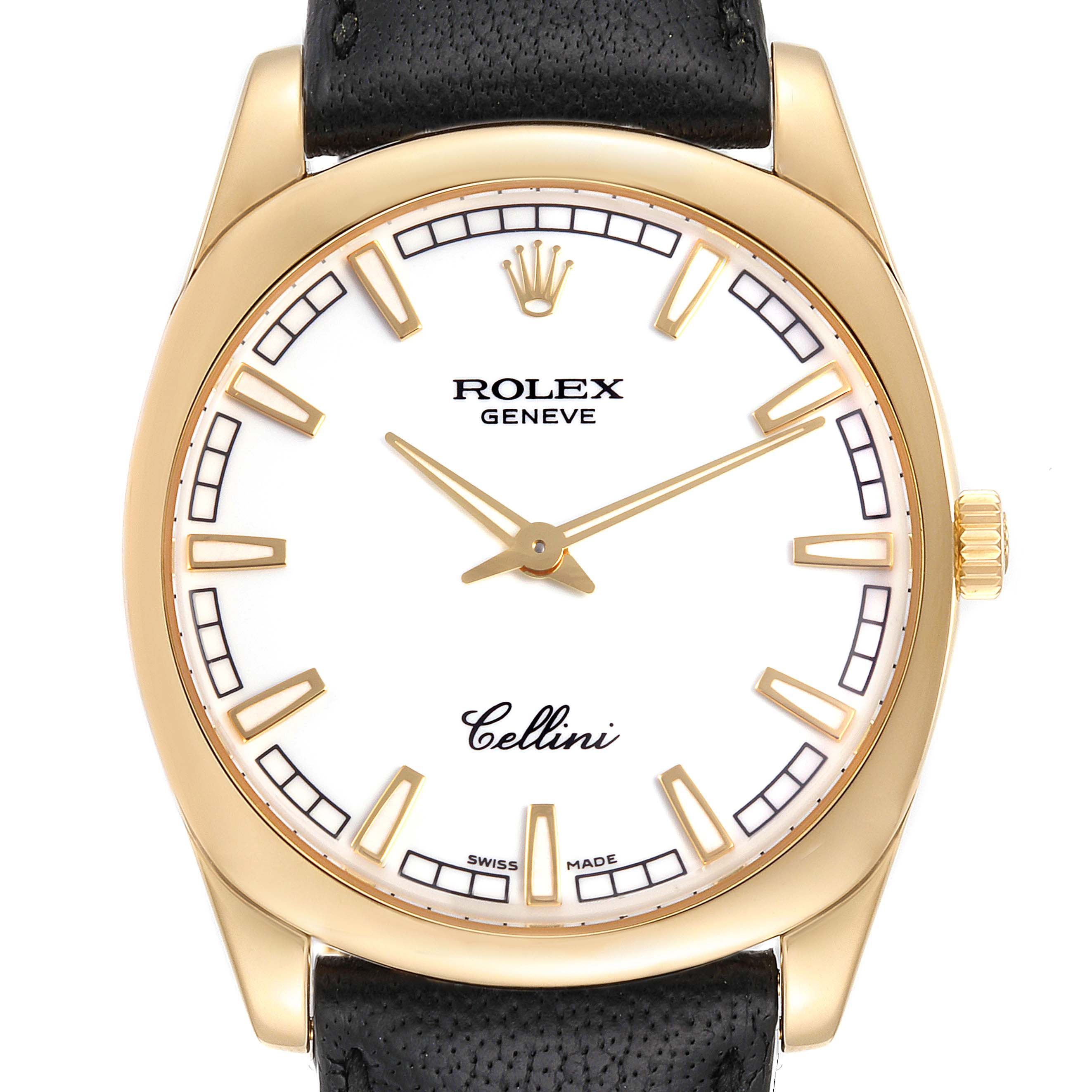 Photo of Rolex Cellini Danaos 18k Yellow Gold White Dial Mens Watch 4243 Box Papers