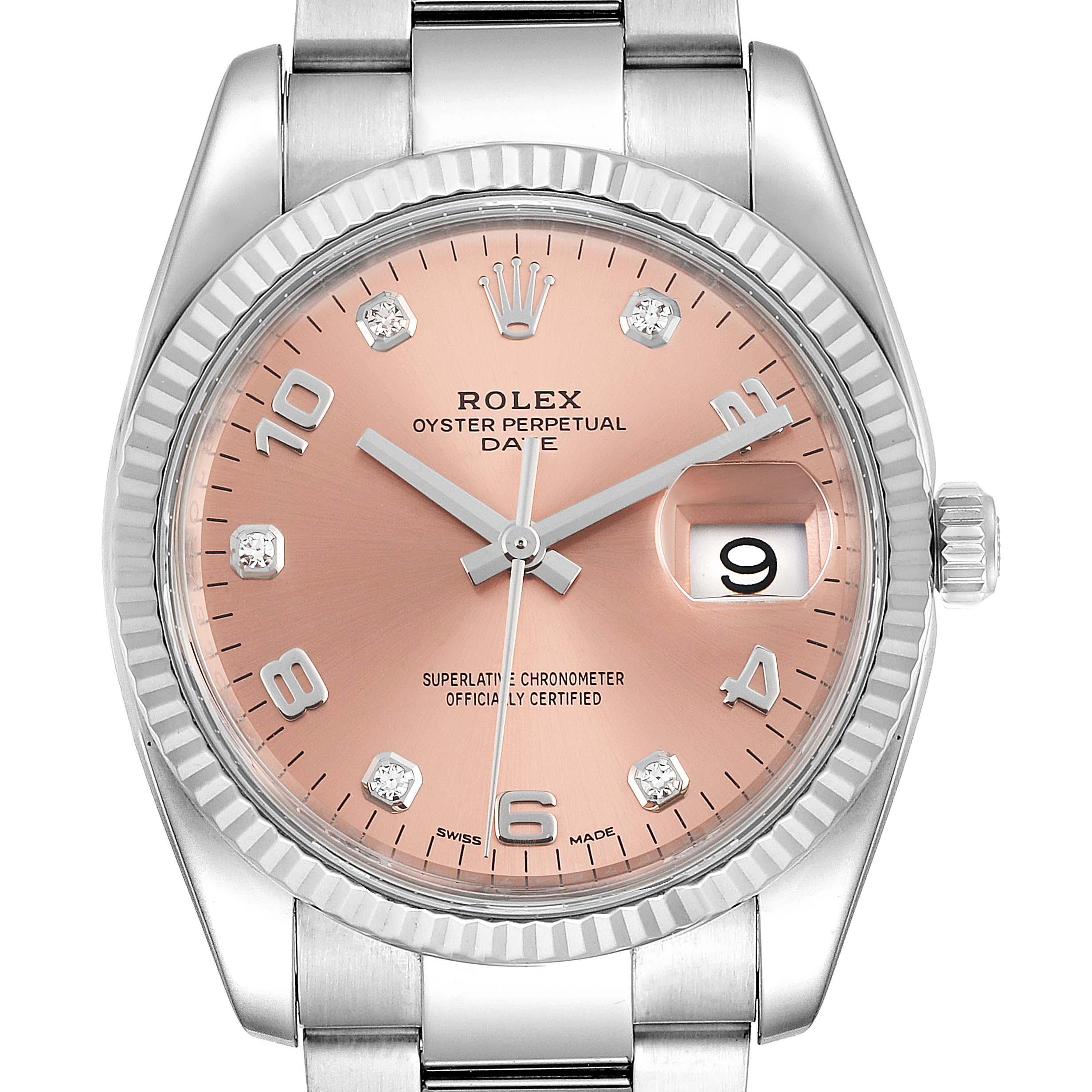 Rolex Date Salmon Diamond Dial Steel White Gold Mens Watch 115234 Box Card