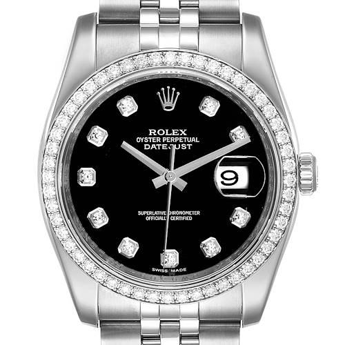 Photo of Rolex Datejust 36 Black Diamond Dial Bezel Unisex Watch 116244 Box Card
