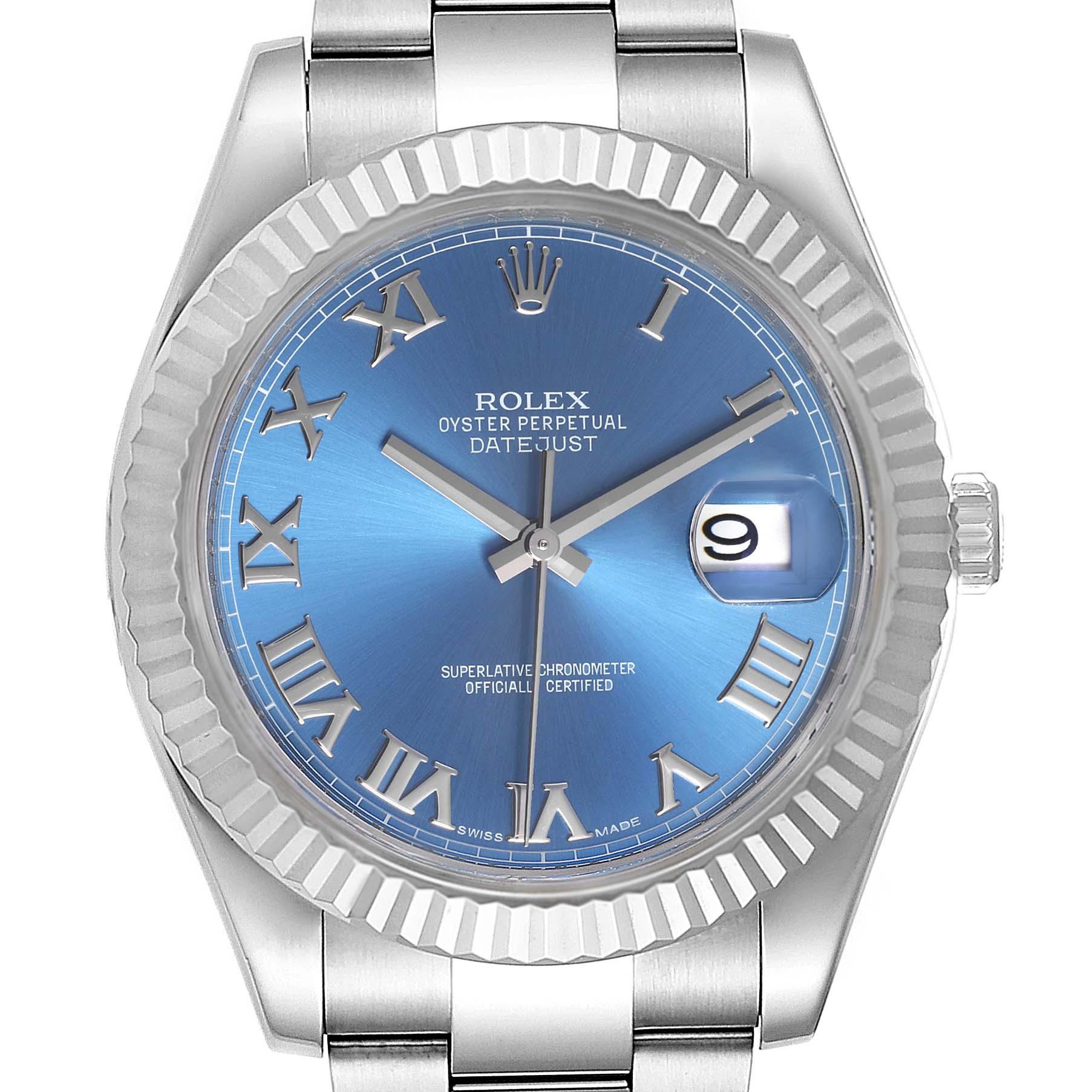 Rolex Datejust II Blue Roman Dial Fluted Bezel Mens Watch 116334