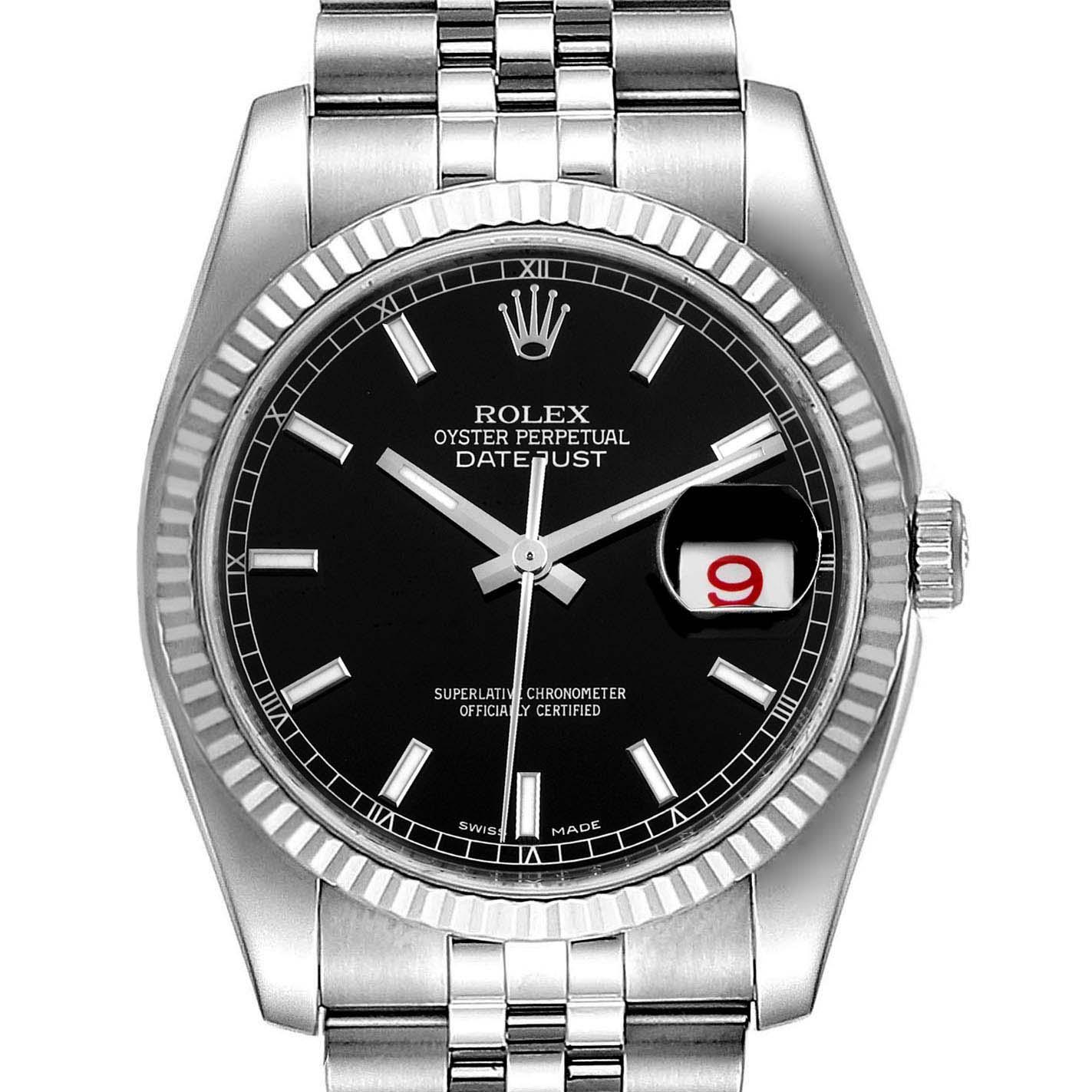Rolex Datejust Steel White Gold Black Dial Mens Watch 116234 Box Card