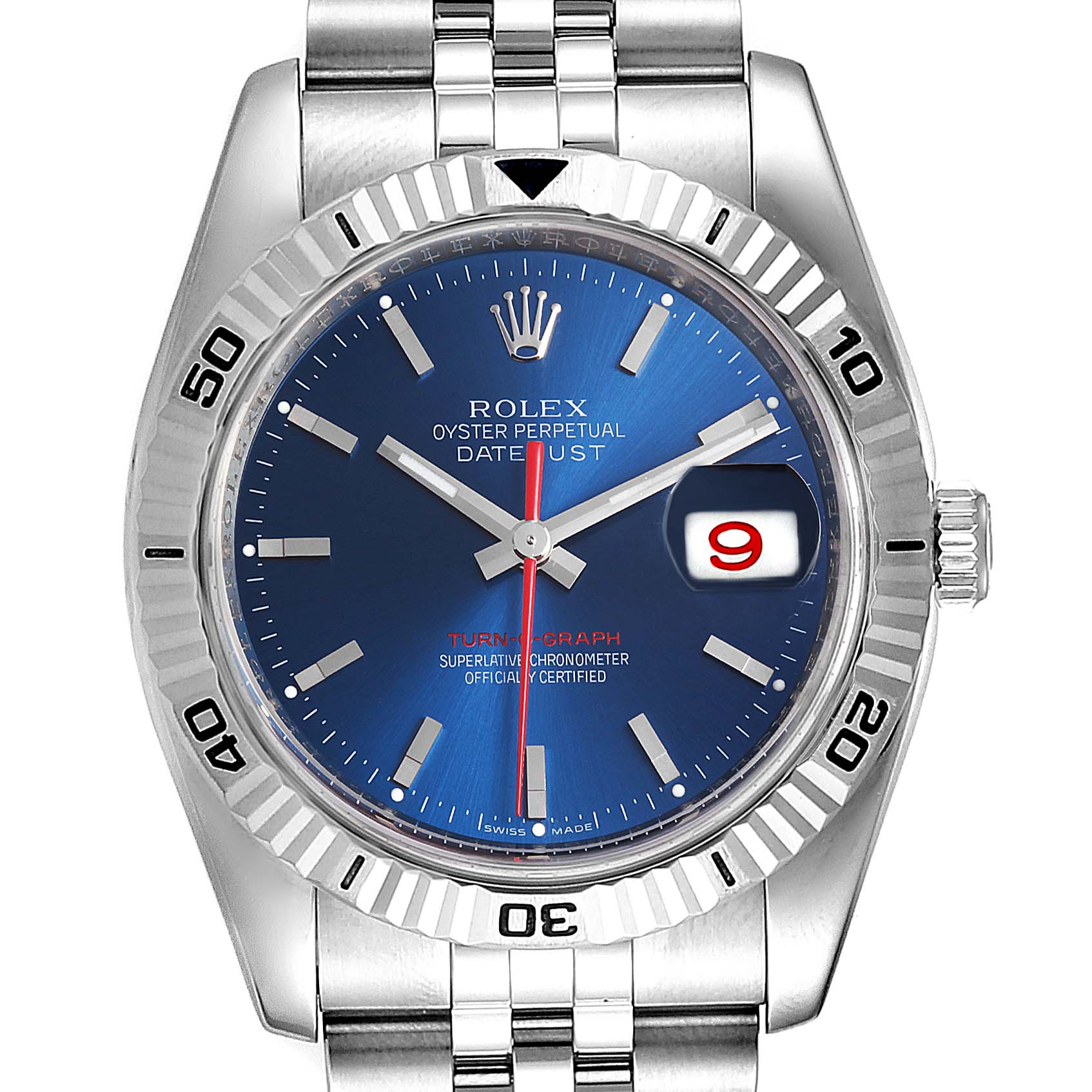 Rolex Datejust Turnograph Blue Dial Steel Mens Watch 116264 Box Papers