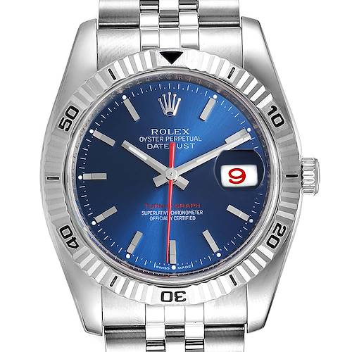 Photo of Rolex Datejust Turnograph Blue Dial Steel Mens Watch 116264 Box Papers