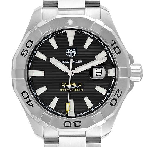 Photo of Tag Heuer Aquaracer Black Dial Steel Mens Watch WAY2010 Box Card