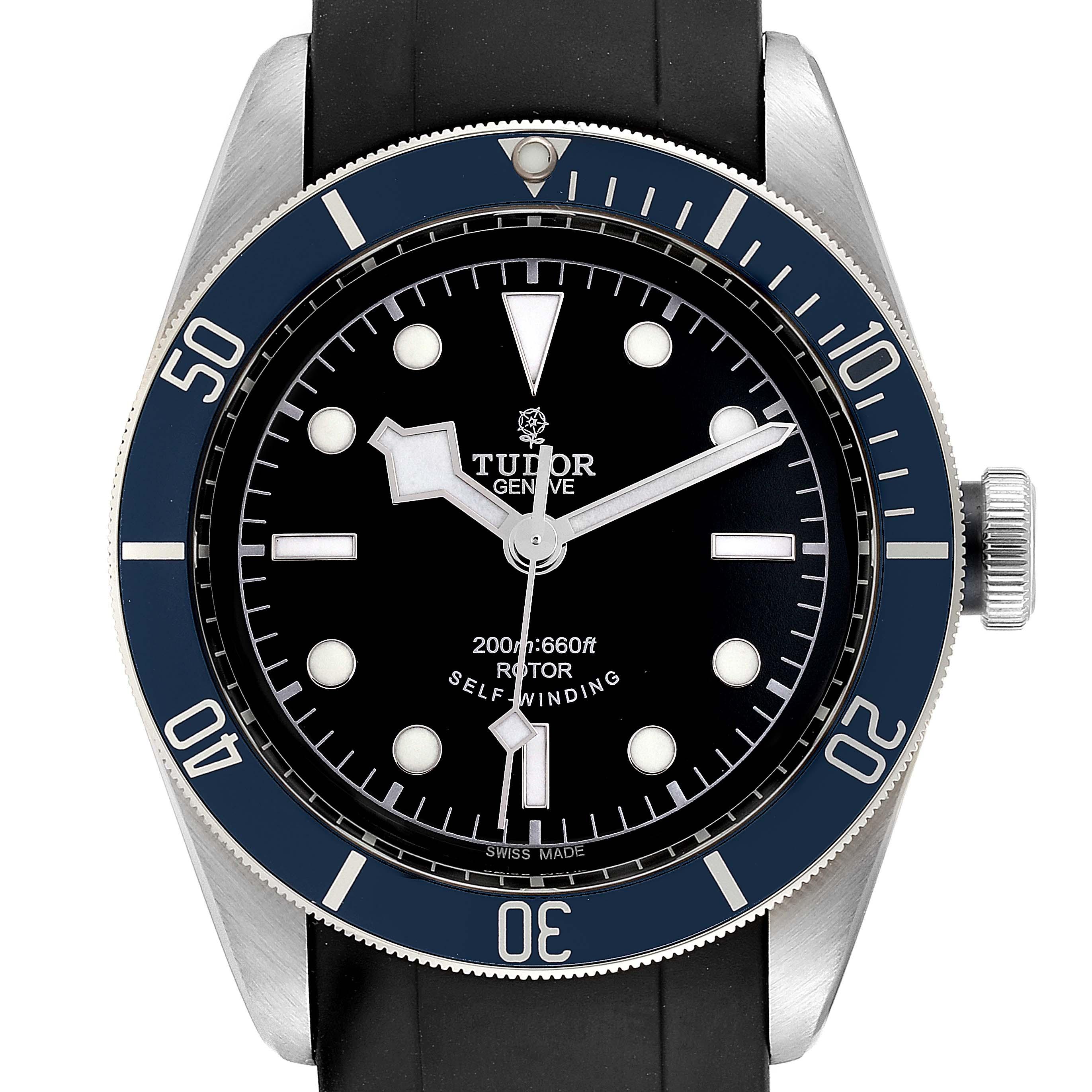 Photo of Tudor Heritage Black Bay Blue Bezel Steel Watch 79220B Box Card