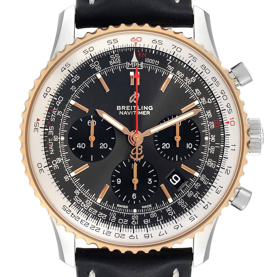 Breitling Navitimer 01 Grey Dial Steel Rose Gold Mens Watch UB0121 Box Papers SwissWatchExpo