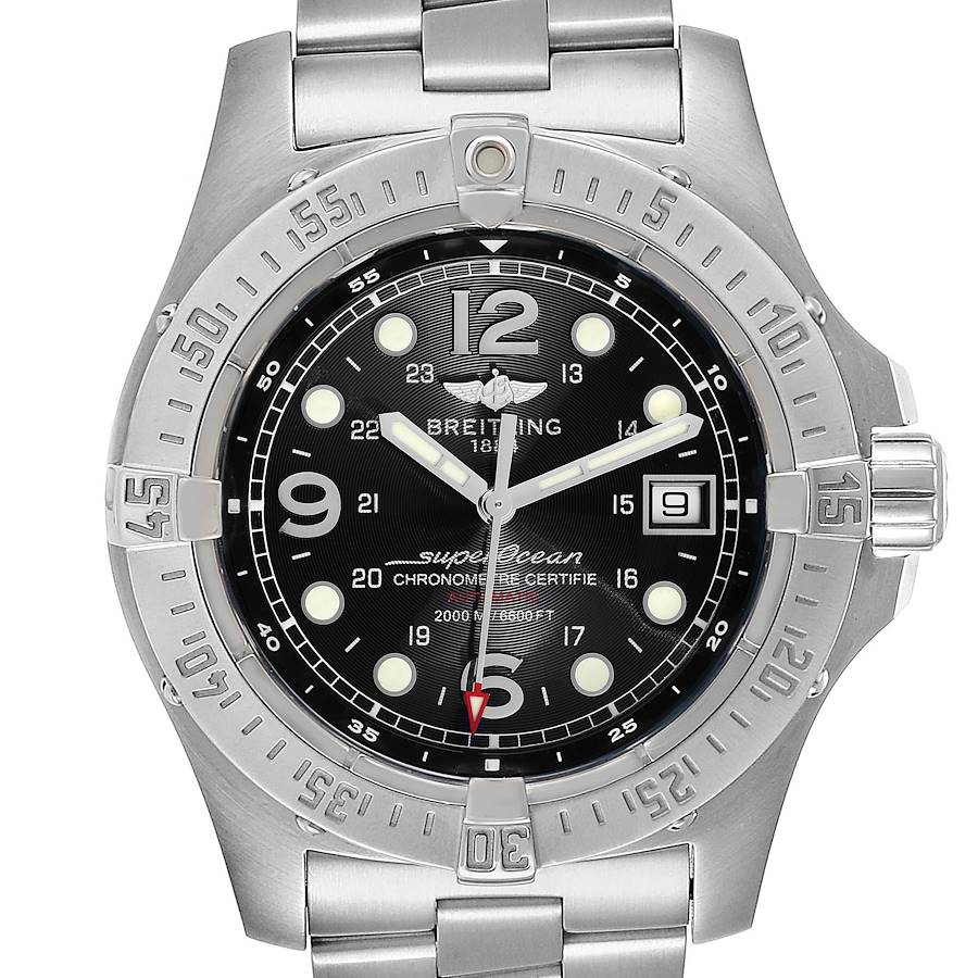 Breitling Superocean Steelfish Black Dial Mens Watch A17390 Box Papers SwissWatchExpo