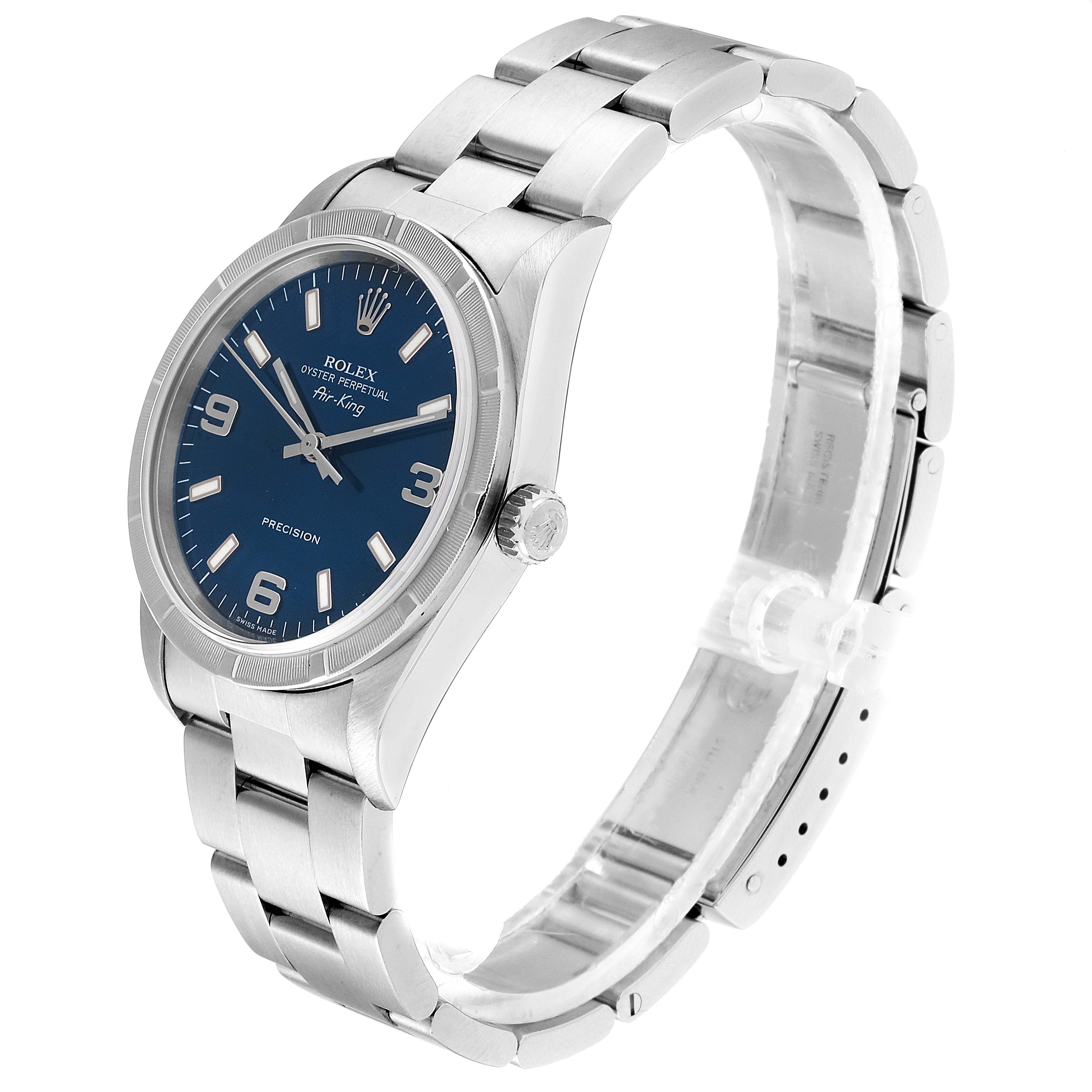 Rolex Air King 34 Blue Dial Steel Mens Watch 14010 Box Papers SwissWatchExpo