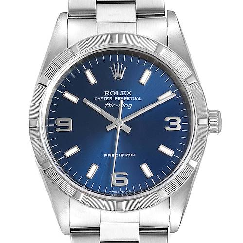 Photo of Rolex Air King 34 Blue Dial Steel Mens Watch 14010 Box Papers
